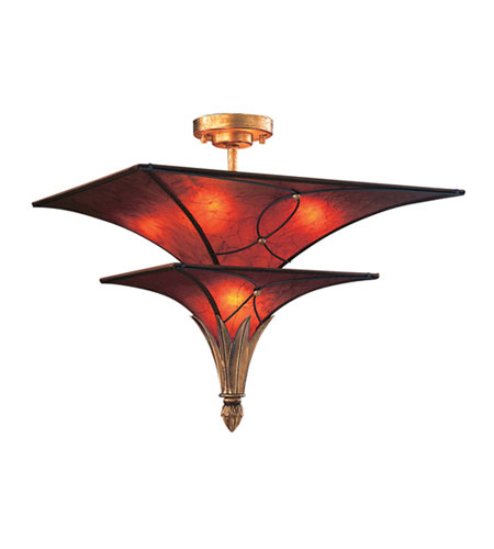 ELK 6169/4+1 VALENCIANA 5 Light 20 inch Solid Brass Gold Leaf Semi-Flush Mount Ceiling Light photo