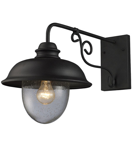 ELK Lighting Streetside Cafe 1 Light Outdoor Sconce in Matte Black 62001-1 photo