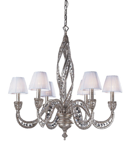 Renaissance 6 Light 28 Inch Sunset Silver Chandelier Ceiling