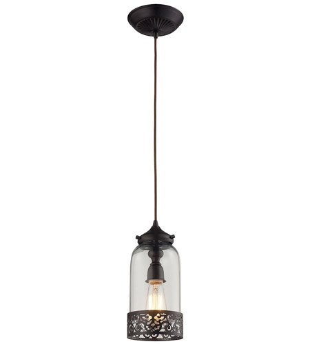 elk brookline 1 light 6 inch oiled bronze pendant ceiling light - Bronze Pendant Light