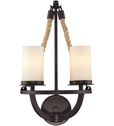 Elk 63040 2 Natural Rope Light 11 Inch Aged Bronze Wall Sconce
