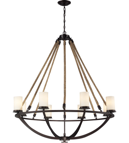 Elk 63043 8 Natural Rope Light 41 Inch Aged Bronze Chandelier Ceiling