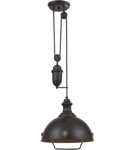 ELK Lighting Farmhouse 1 Light Pendant In Oiled Bronze 65071-1