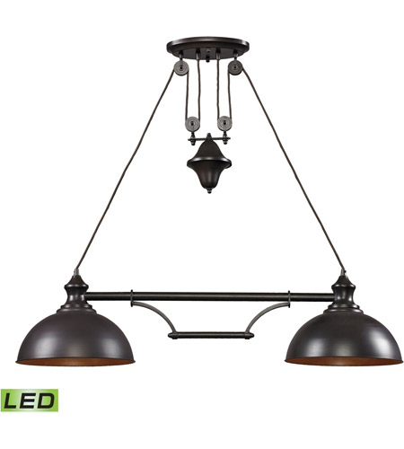 ELK 65150-2-LED Farmhouse LED 44 inch Oiled Bronze Billiard/Island Ceiling Light photo