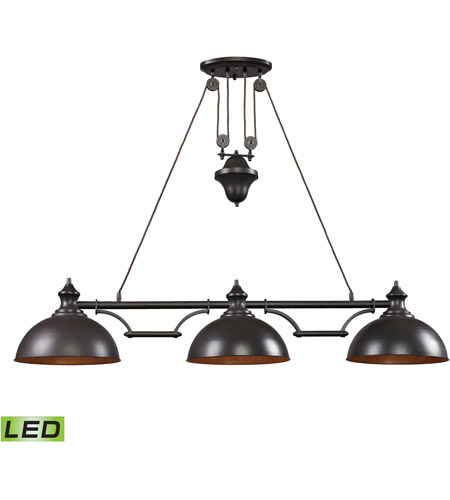 ELK 65151-3-LED Farmhouse LED 56 inch Oiled Bronze Billiard Light Ceiling Light photo