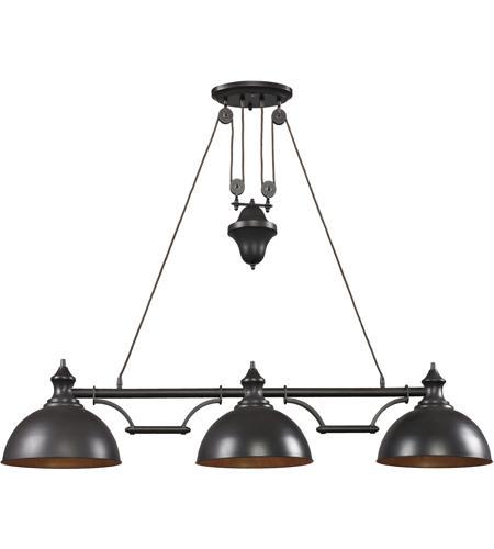 elk farmhouse 3 light 56 inch oiled bronze ceiling light in standard