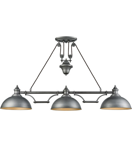 ELK 65163-3 Farmhouse 3 Light 56 Inch Weathered Zinc