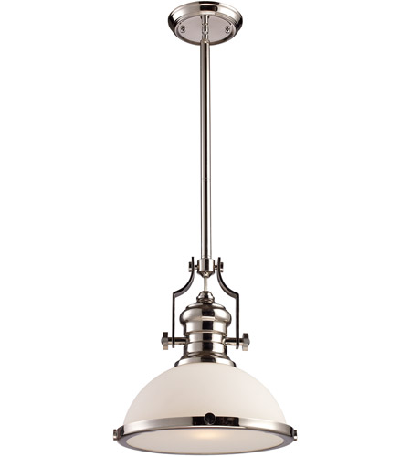 Elk 66113 1 Chadwick Light 13 Inch Polished Nickel Pendant Ceiling In Incandescent