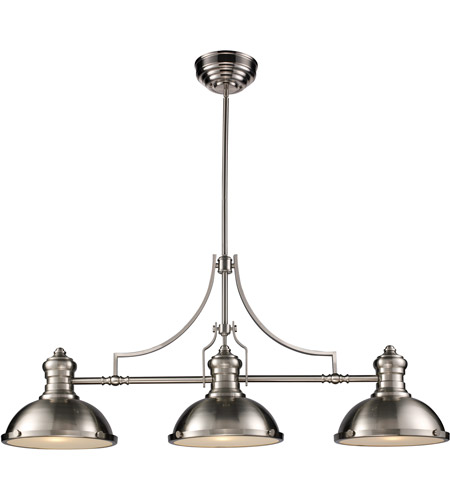 Elk 66125 3 Chadwick Light 47 Inch Satin Nickel Billiard Island Ceiling