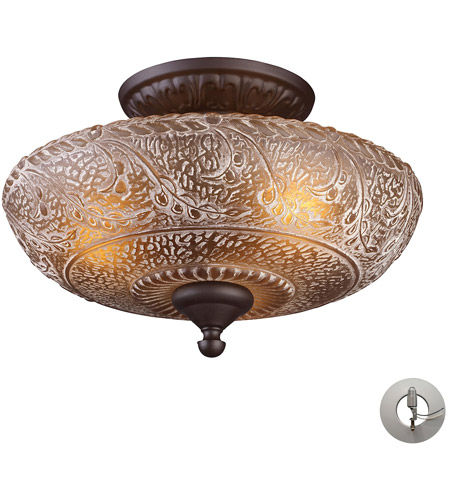 ELK Lighting Norwich 3 Light Semi-Flush Mount in Oiled Bronze