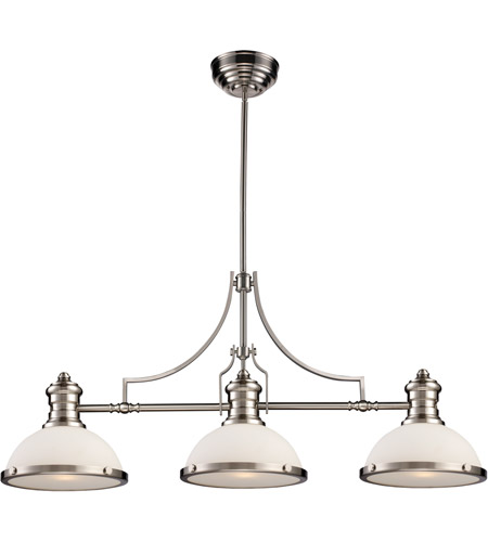 elk chadwick 3 light 47 inch satin nickel ceiling light in standard