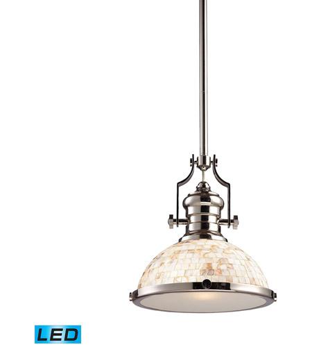 Elk Lighting Schoolhouse Pendant: ELK 66413-1-LED Chadwick LED 13 Inch Polished Nickel
