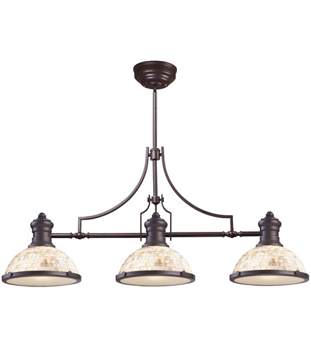 ELK 66435-3 Chadwick 3 Light 47 inch Oiled Bronze Billiard Light Ceiling Light in Incandescent photo
