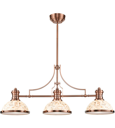 ELK 66445-3 Chadwick 3 Light 47 inch Antique Copper Billiard Light Ceiling Light in Incandescent photo