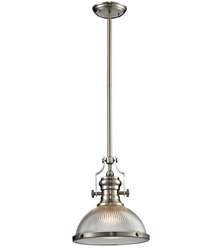 Elk Lighting Chadwick Pendant: ELK 66523-1 Chadwick 1 Light 13 Inch Satin Nickel Pendant
