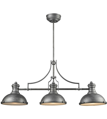 ELK 66585-3 Chadwick 3 Light 47 inch Weathered Zinc Billiard Light Ceiling Light photo