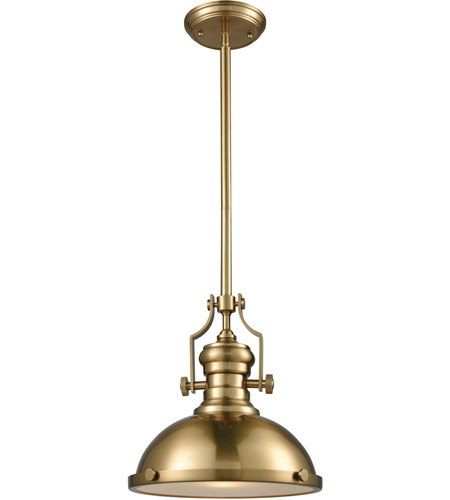 Elk Lighting Chadwick Pendant: ELK 66594-1 Chadwick 1 Light 13 Inch Satin Brass Pendant
