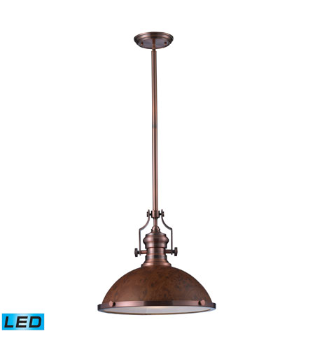 Elk Lighting Chadwick 1 Light Pendant In Antique Copper 66645 Led