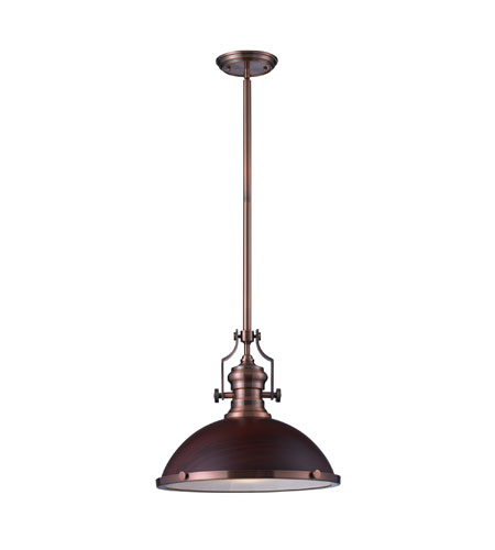 Elk Lighting Chadwick 1 Light Pendant In Antique Copper 66646