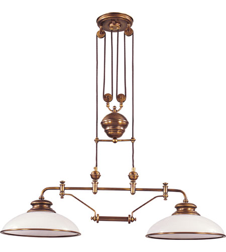 Elk Lighting Clic Pulldown 2 Light Island In Antique Br 6671
