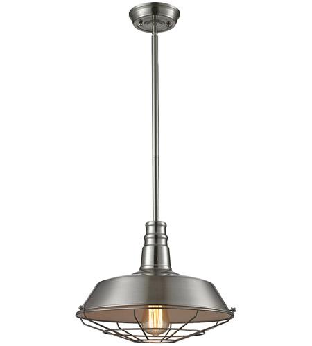 ELK 67066/1 Warehouse 1 Light 15 Inch Satin Nickel Pendant
