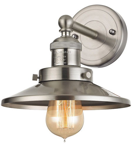 Elk 671701 english pub 1 light 8 inch satin nickel vanity wall light mozeypictures Image collections