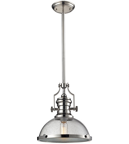 Elk Lighting Chadwick Pendant: ELK 67713-1 Chadwick 1 Light 13 Inch Polished Nickel