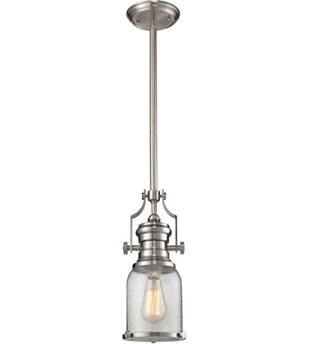 Elk Lighting Chadwick Pendant: ELK 67742-1 Chadwick 1 Light 8 Inch Satin Nickel Pendant