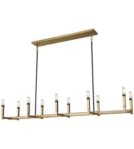 elk mandeville 10 light 60 inch satin brass with oil rubbed bronze chandelier ceiling light