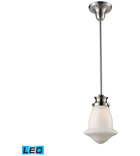 Elk Lighting Schoolhouse Pendant: ELK 69029-1-LED Schoolhouse LED 8 Inch Satin Nickel