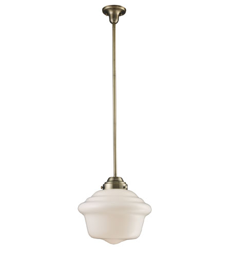 ELK 69030 1 Schoolhouse 1 Light 17 Inch Antique Brass Pendant Ceiling Light  Photo