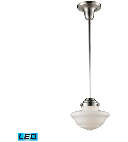 Elk Lighting Schoolhouse Pendant: ELK 69042-1-LED Schoolhouse LED 8 Inch Satin Nickel