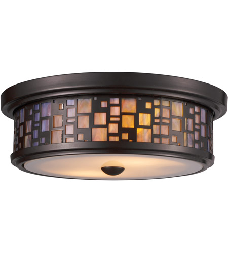 ELK Lighting Tiffany 2 Light Flush Mount in Oiled Bronze 70027-2
