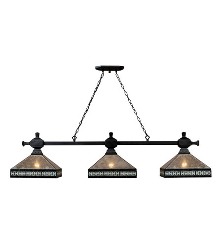 ELK 70061-3 Mica Filigree 3 Light 14 inch Tiffany Bronze Billiard/Island Ceiling Light photo