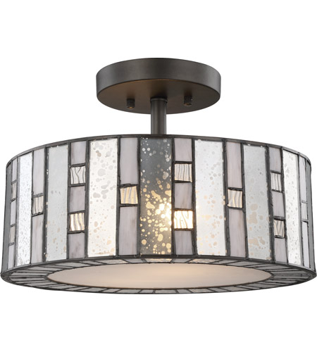 Elk 70213 2 Ethan Light 14 Inch Tiffany Bronze Semi Flush Mount Ceiling