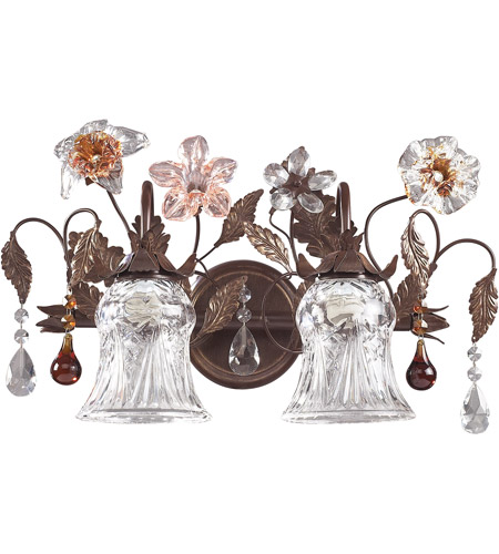 ELK 7040/2 Cristallo Fiore 2 Light 18 inch Deep Rust Vanity Wall Light photo