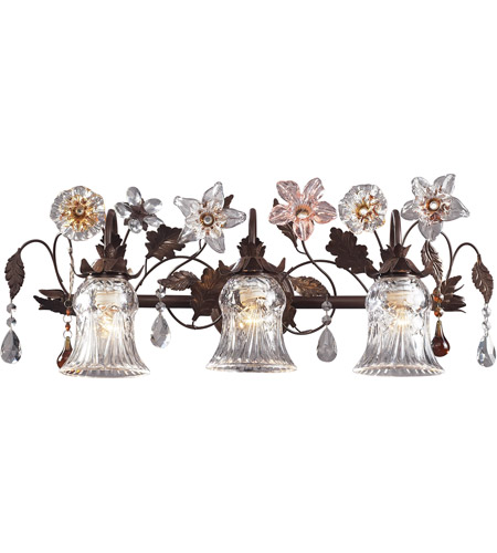 ELK 7042/3 Cristallo Fiore 3 Light 26 inch Deep Rust Vanity Wall Light photo