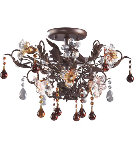 ELK 7044/3 Cristallo Fiore 3 Light 19 inch Deep Rust Semi-Flush Mount Ceiling Light photo