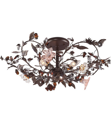 ELK 7046/3 Cristallo Fiore 3 Light 27 inch Deep Rust Semi-Flush Mount Ceiling Light photo