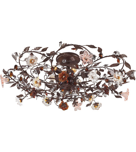 ELK Lighting Cristallo Fiore 6 Light Semi-Flush Mount in Deep Rust 7047/6 photo