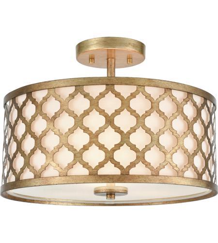 Elk 75135 3 Arabesque 16 Inch Bronze Gold Semi Flush Mount Ceiling Light