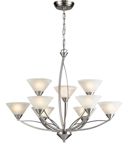 ELK Lighting Elysburg 9 Light Chandelier in Satin Nickel 7638/6+3 photo