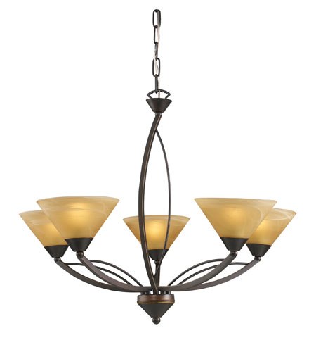 ELK Lighting Elysburg 5 Light Chandelier in Aged Bronze 7647/5 photo