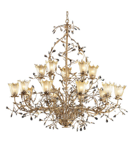 Elk Lighting Circeo Vetro 15 Light Chandelier In Russet Beige 8068 10 5