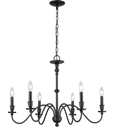 ELK 81274/6 Collins 6 Light 30 inch Matte Black Chandelier Ceiling Light photo