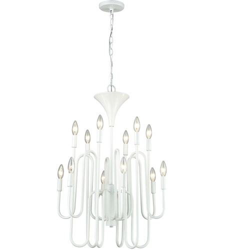 ELK 81297/12 Decatur 12 Light 22 inch Matte White Chandelier Ceiling Light photo thumbnail