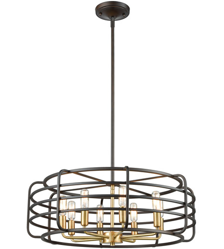 ELK 81316/8 Capistrano 8 Light 24 inch Oil Rubbed Bronze with Satin Brass Pendant Ceiling Light photo thumbnail