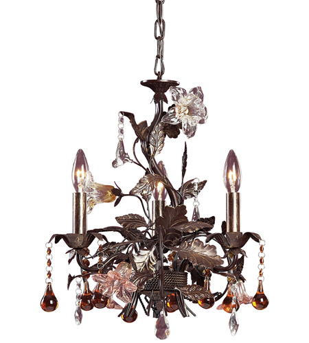 ELK 85001 Cristallo Fiore 3 Light 17 inch Deep Rust Chandelier Ceiling Light photo