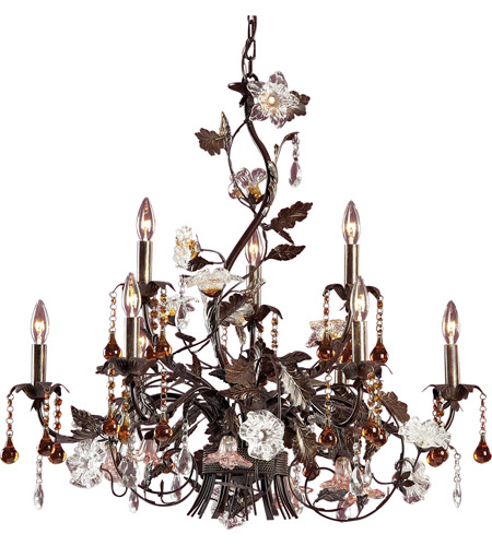 ELK Lighting Cristallo Fiore 9 Light Chandelier in Deep Rust 85003 photo