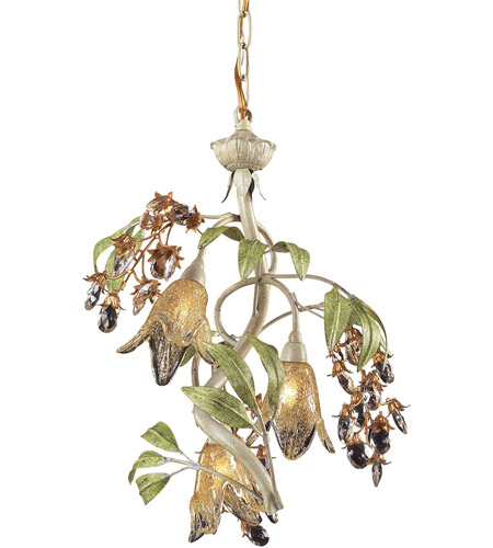 ELK 86051 Huarco 3 Light 16 inch Seashell with Sage Green Chandelier Ceiling Light in Standard photo